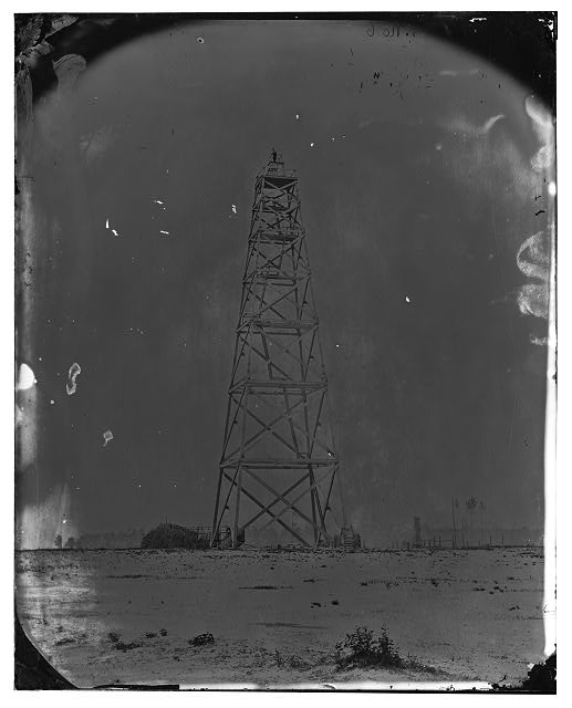 Bermuda Hundred, James River, Virginia. Signal tower on left of Bermuda line