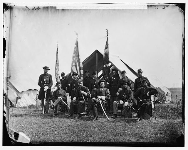 [Portrait of Capt. William H. Terwilliger, officer of the Federal Army, and officers, Company A, 63d New York Infantry, vicinity of Washington, D.C.]