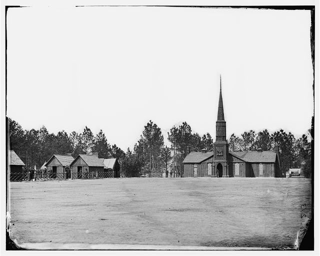 Poplar Grove, Virginia. Officer's quarters and church. 50th New York Engineers