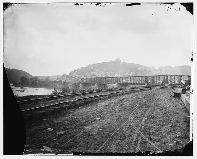 [Harper's Ferry, W. Va. View of the town and railroad bridge]