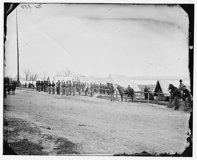 [District of Columbia. Band before quarters at Camp Stoneman]