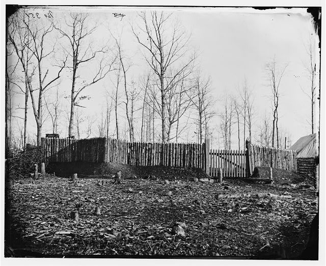 Rappahannock Station, Virginia. Stockade and entrance to the camp of the 50th New York Engineers