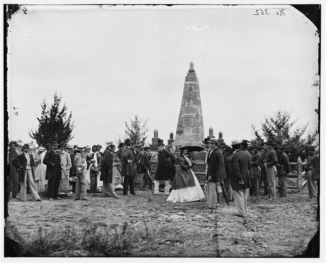 [Bull Run, Va. Dedication of the battle monument; Judge Abram B. Olin of the District of Columbia Supreme Court, who delivered the address, stands by the rail]