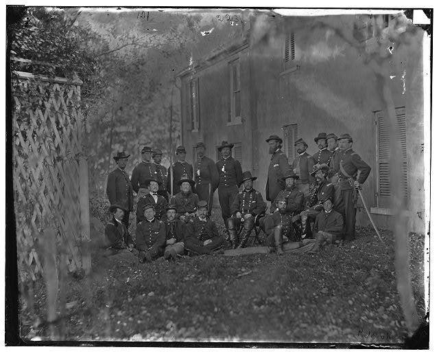 [Portrait of Maj. Gen. Alfred Pleasonton, officer of the Federal Army, and staff, Warrenton, Va.]