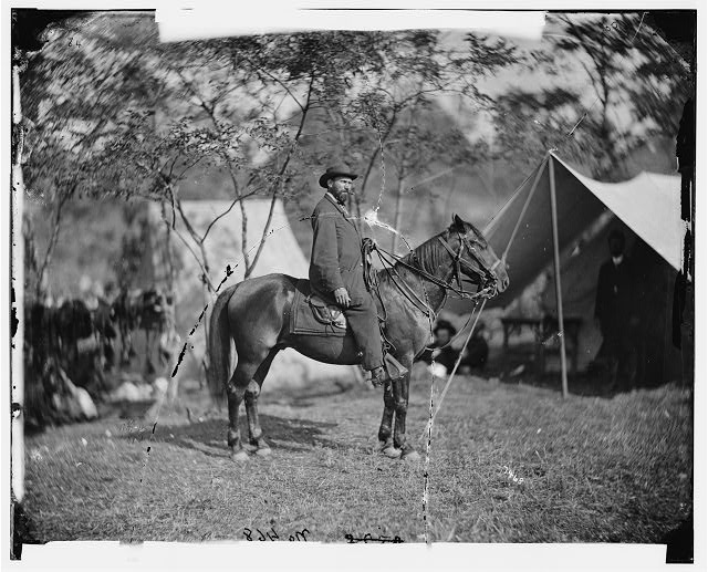 "[Antietam, Md. Allan Pinkerton (""E. J. Allen"") of the Secret Service on horseback]"