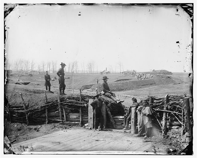 [Manassas, Va. Confederate fortifications, with Federal soldiers]