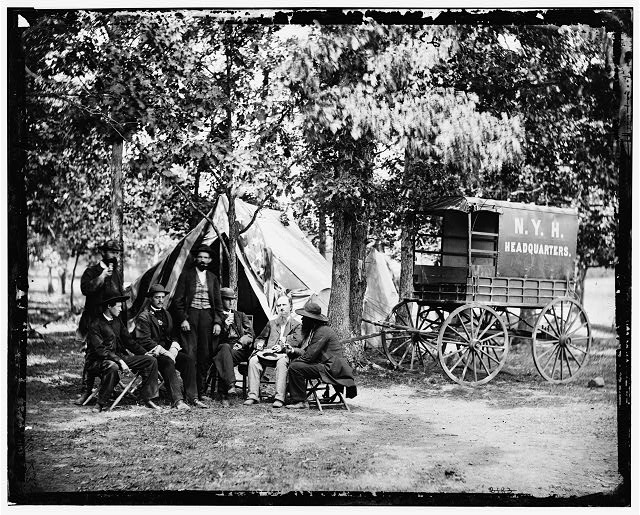 [Bealeton, Va. Group at tent and wagon of the New York Herald]