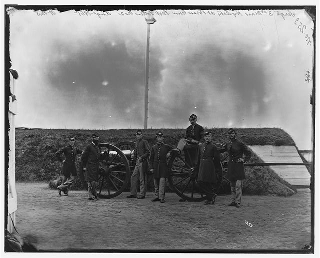 Washington, District of Columbia. Sergeants of 3d Regiment Massachusetts Heavy Artillery at Fort Totten