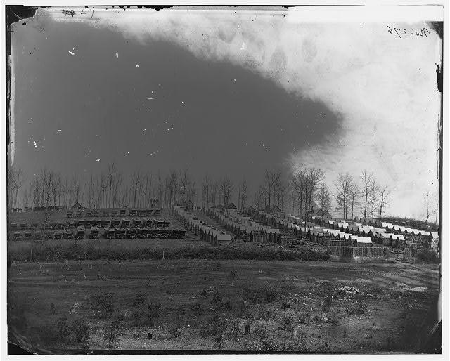 [Rappahannock Station, Va. General view of 50th New York Engineers' winter encampment]