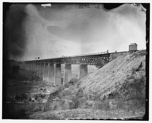 Farmville, Virginia (vicinity). High Bridge over the Appomattox River. North east view