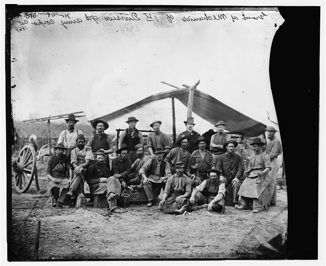 [Petersburg, Virginia]. Group of mechanics of 1st Division, 9th Army Corps