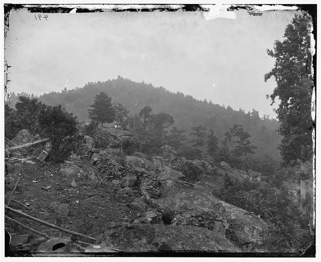 [Gettysburg, Pa. Breastworks on Little Round Top; Round Top in distance]