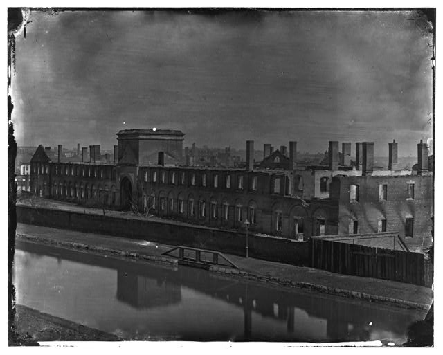 [Richmond, Va. Ruins of State Arsenal from the Canal]