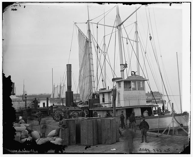 [Aquia Creek Landing, Va. Wharf with transport and supplies]