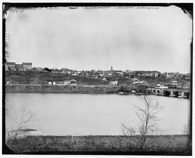 [Washington, D.C. Georgetown from the Virginia bank; Aqueduct Bridge at the extreme right]