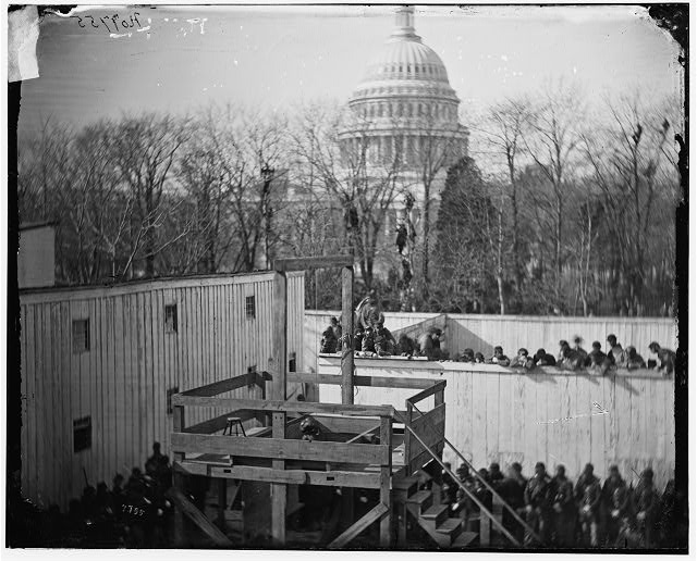 [Washington, D.C. Hooded body of Captain Wirz hanging from the scaffold]
