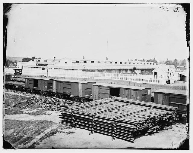 Alexandria, Virginia. Soldiers' Rest. (Railroad boxcars shown in foreground)
