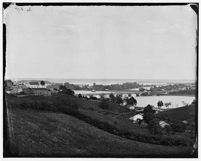 [Washington, D.C. View from Georgetown heights, with Aqueduct Bridge and Mason's Island]