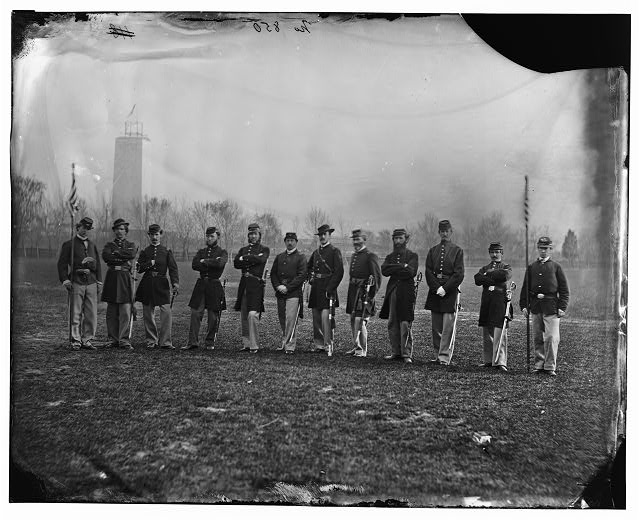 [Washington, D.C. Officers of the U.S. Treasury Battalion; uncompleted Washington Monument in left background]