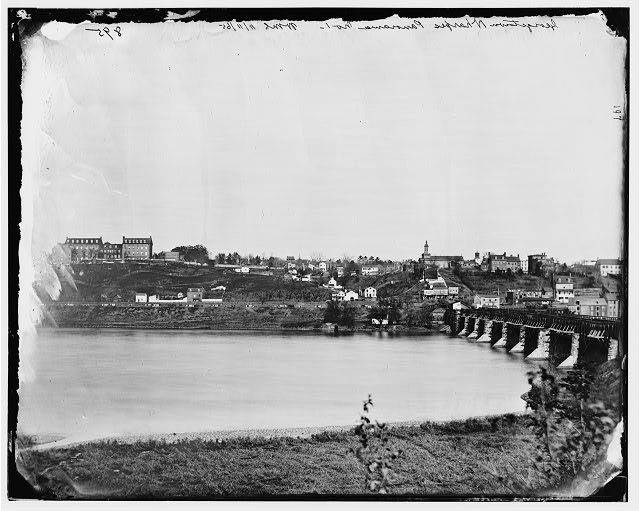 Washington, District of Columbia. View of Georgetown and Aqueduct Bridge