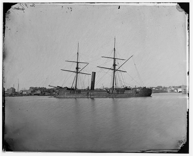 [Ex-Confederate Iron-clad ram stonewall at anchor; US Capitol in the background