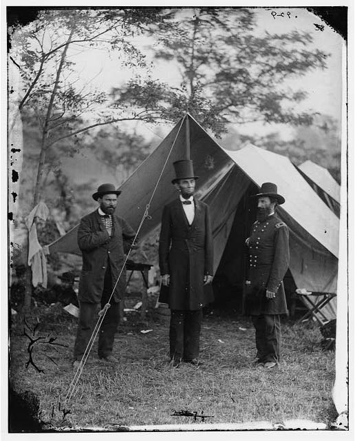 [Antietam, Md. Allan Pinkerton, President Lincoln, and Maj. Gen. John A. McClernand; another view]