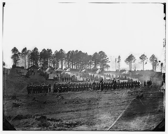 Brandy Station, Virginia. Guard mount of 114th Pennsylvania Infantry (1st Division, 3d Corps)
