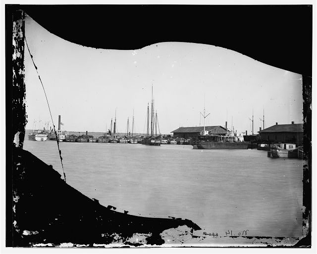 Aquia Creek Landing, Virginia. Supply boats at the wharf