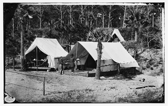 [Morris Island, South Carolina. General Quincy A. Gillmore in front of his tent]