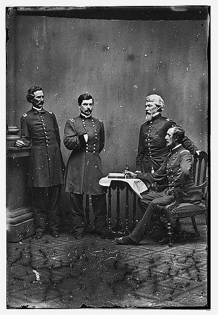 McClellan and staff. L to R: Capt. Clark, Gen. McClellan, Capt. Van Vliet, Maj. Barry