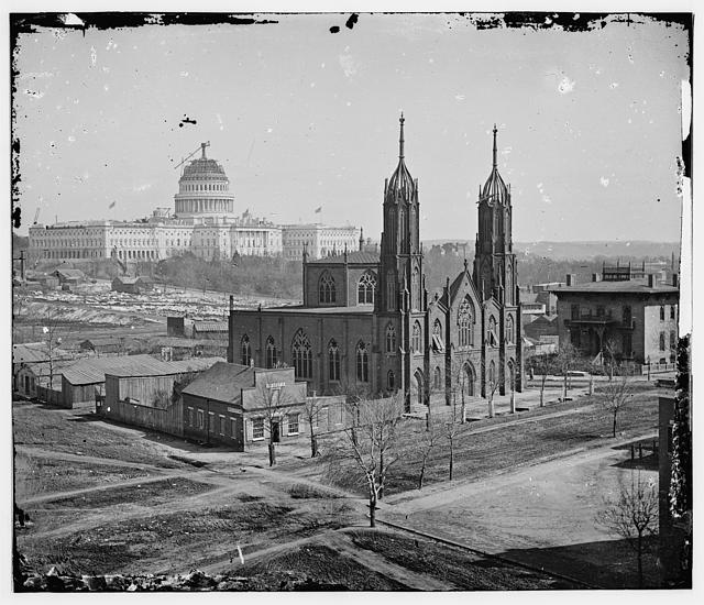 Trinity Episcopal Church, 3rd & Ind. Ave. Unfinished Capitol in the background