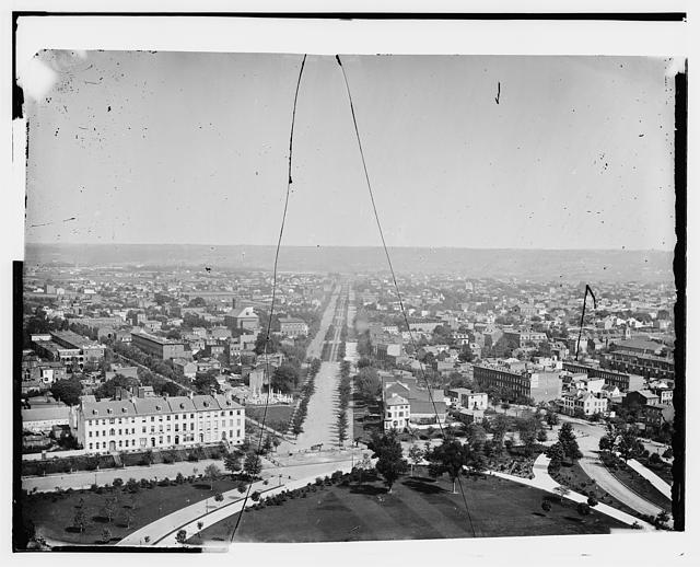 [View looking east down Pennsylvania Avenue, S.E., from U.S. Capitol with Carroll Row at left]