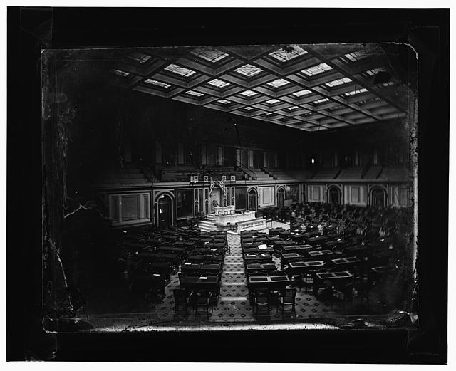 Old House of Representatives (about 1861). Earliest photo of interior of capitol.