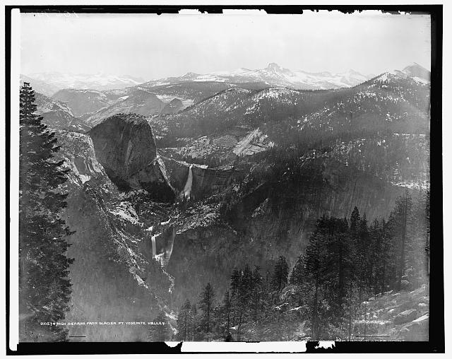 High Sierras and Tenaya Canyon from Glacier Point, Yosemite Valley, California