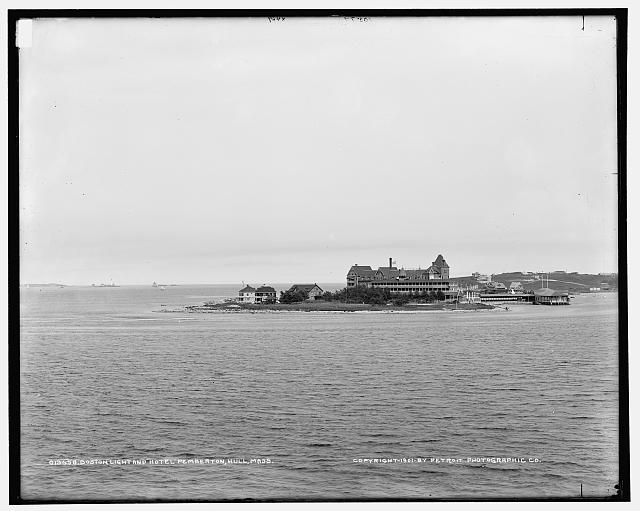 [Boston Light and Hotel Pemberton from Paddock's Island, Hull, Mass.]