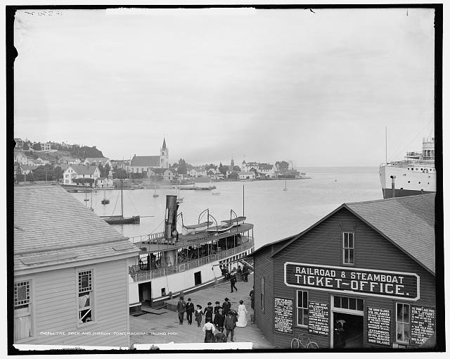 Dock and Mission Point, Mackinac Island, Mich.