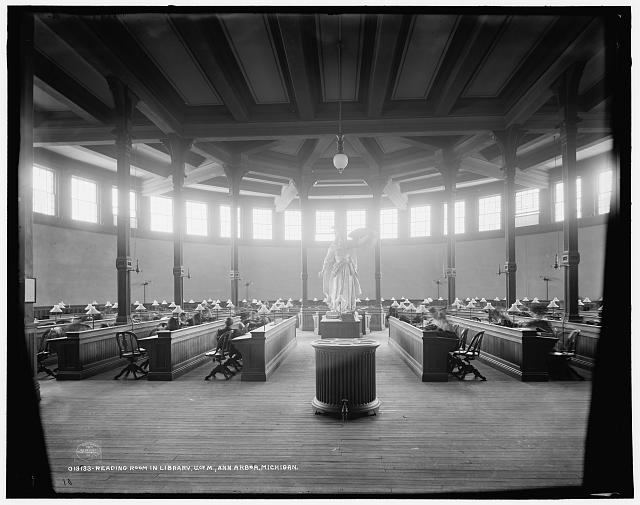 Reading room in library, U. of M. [i.e. University of Michigan], Ann Arbor, Michigan