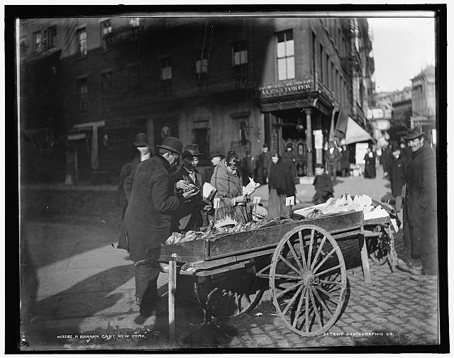 A banana cart, New York