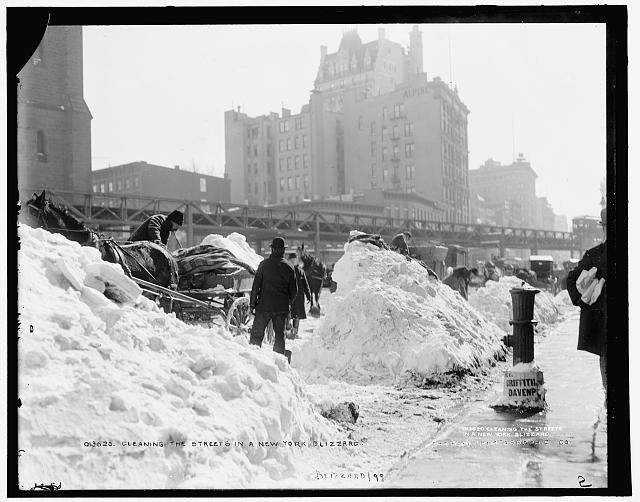 Cleaning the streets in a New York blizzard