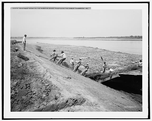Revetment work on the Missouri River, tightening the cable, Cambridge, Mo.