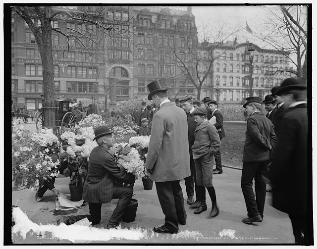 Flower vender [i.e. vendor] making a sale, [Union Square Park], New York