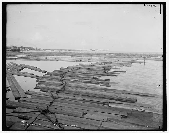 Raft timber for export, Pensacola Harbor