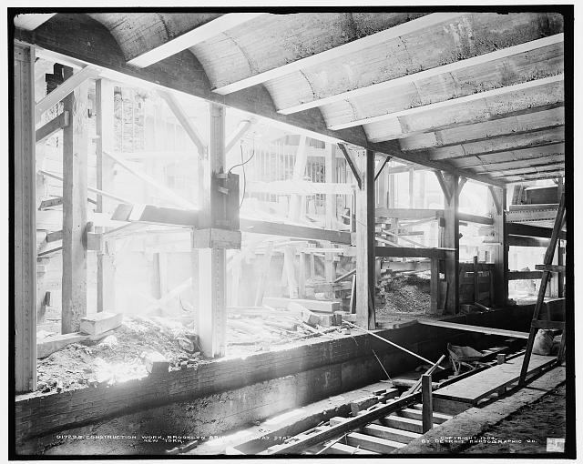 Construction work, Brooklyn Bridge subway station, New York