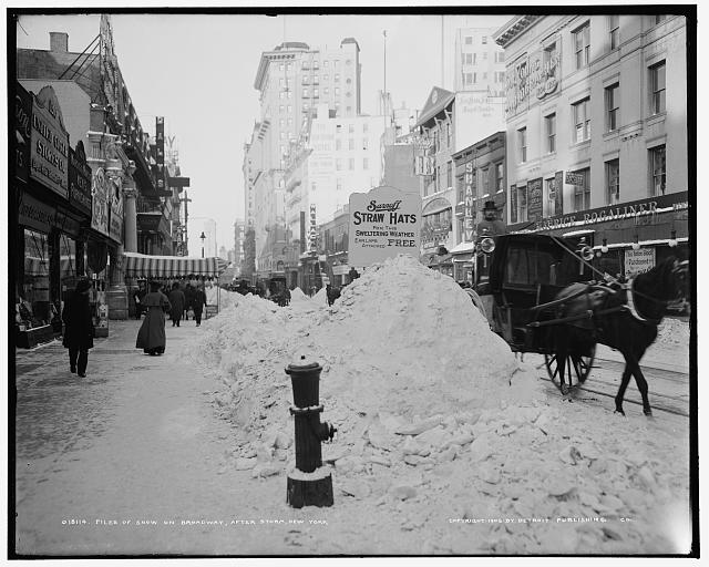 Piles of snow on Broadway, after storm, New York