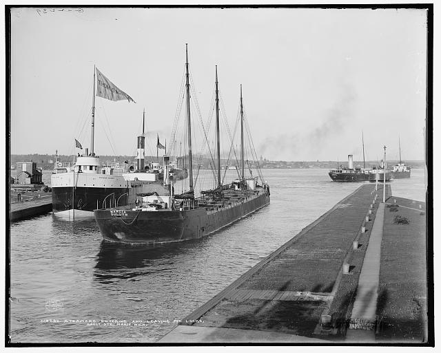 Steamers entering and leaving Poe Locks, Sault Ste. Marie, Mich.
