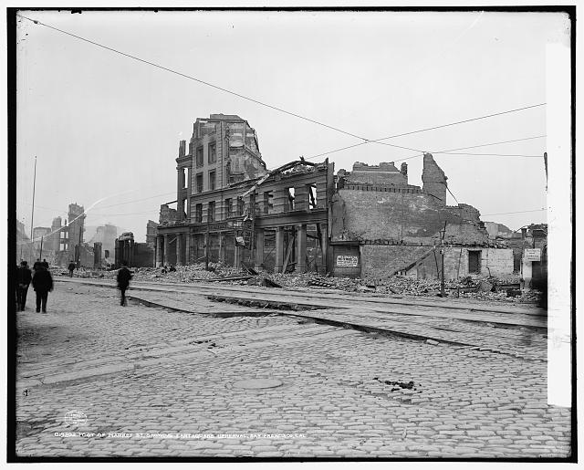 Foot of Market Street, showing earthquake upheaval, San Francisco, Cal.