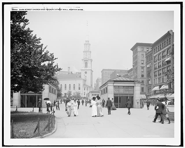 Park Street Church and Tremont Street mall, Boston, Mass.