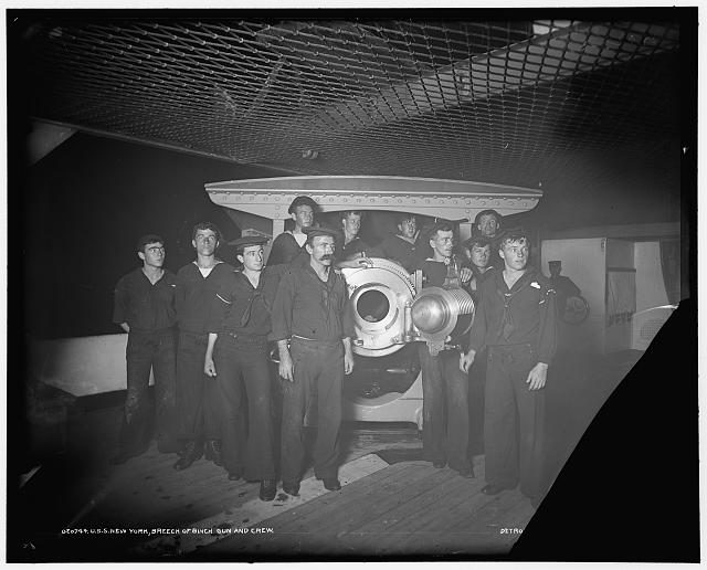 U.S.S. New York, breech of 8 inch gun and crew