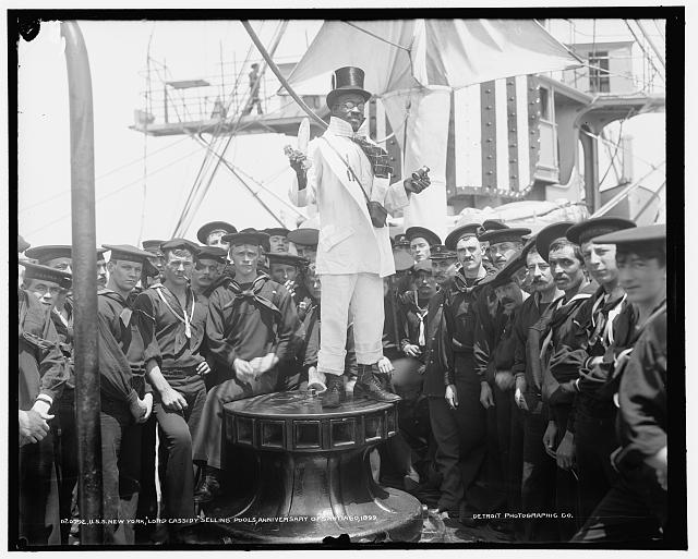 "U.S.S. New York, ""Lord Cassidy"" selling pools, anniversary of Santiago, 1899"