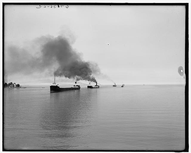[Freighters on Lake St. Clair]